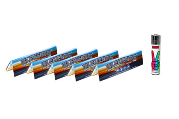 Elements Ultra Thin Rice King Size Slim Rolling Papers 5 Pack with Lighter