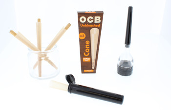 1 Pack of King Size Unbleached Cones with Grinder, Cone Loader, and Doob Tube