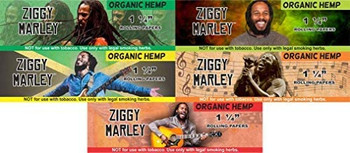 Ziggy Marley Organic Hemp Unbleached Rolling Papers 1 1/4 Size 5 pack with Lighter