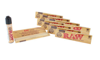 RAW Classic King Size Slim Unrefined Natural Rolling Papers with Lighter 10 Pack