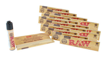 RAW Classic King Size Slim Unrefined Natural Rolling Papers with Lighter 24 Pack
