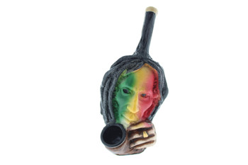 "5"" Wood Finish Ceramic Hand Made Handheld Pipe Bob Marley Rasta"