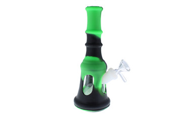 "8"" Black & Green Liberty Bell Hybrid Glass Silicone Bong"