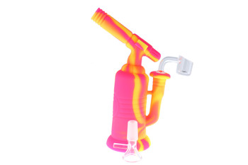 "7.5"" Torch Silicone Bong / Silicone Rig - Pink & Yellow"