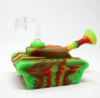 "4"" Silicone ""Tank"" Dab Rig / Bong Water Pipe - Rasta"