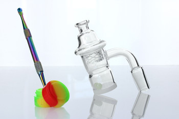Opaque Bottom Splash Guard 14mm Male 90 Degree Banger Kit with Vortex Carb Cap, Terp Pearls, Dab Tool, & Silicone Jar