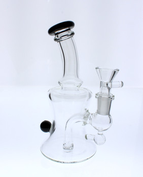 "6"" Glass Water Pipe Banger Hanger Dab Rig / Bong - Black"
