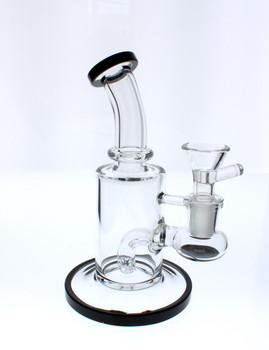 """6"""" Glass Water Pipe Straight Base Dab Rig / Bong - Black"""