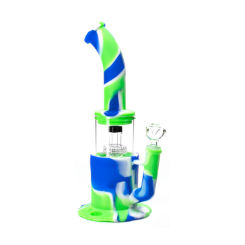 """13.5"""" Silicone Glass Hybrid Water Pipe Rig Bong with Showerhead Dome Perc Blue & Green"""