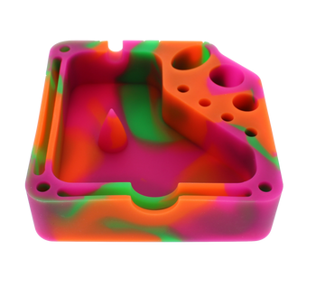 Square Silicone Dab Station - Orange, Pink, and Green