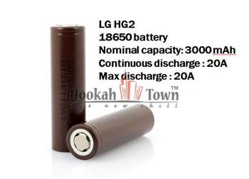 LG HG2 18650 20A 3000MAH BATTERY 3.7V (1 Pack)