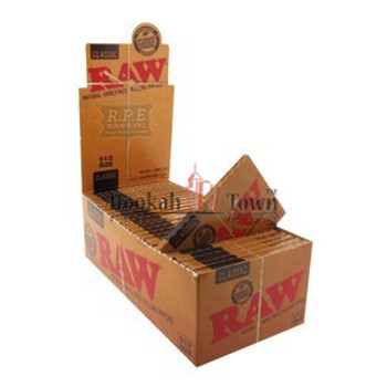 RAW 1 1/2 SIZE CLASSIC CIGARETTE ROLLING PAPERS, 33 LEAVES