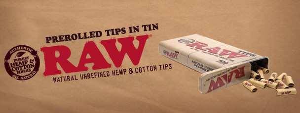 RAW Pre Rolled Tips in a Can 100 Tips per can