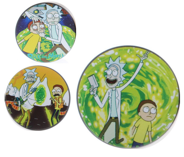Rick and Morty Flat Top Travel Size Small 3 Chamber Grinder