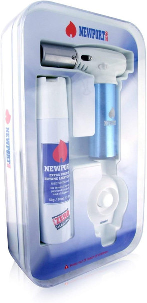 Newport Zero Jr Turbo Charged Lighter Torch with Butane and Stand Quality Blue