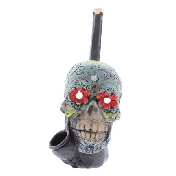 """4"""" Wood Finish Ceramic Hand Made Handheld Pipe Sugar Skull"""