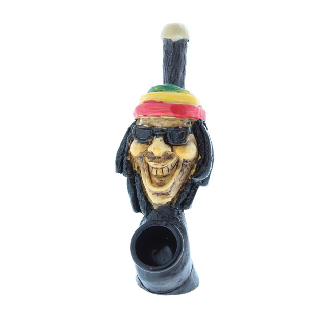 "2"" Wood Finish Ceramic Hand Made Handheld Pipe Rasta Man"