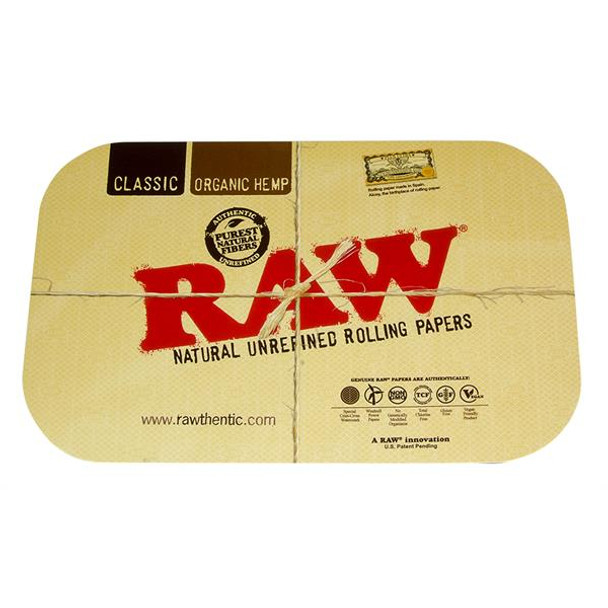 Raw Rolling Paper Cone Mini Tray 7 x 5 inch + Magnetic Lid Cover Combo Magne