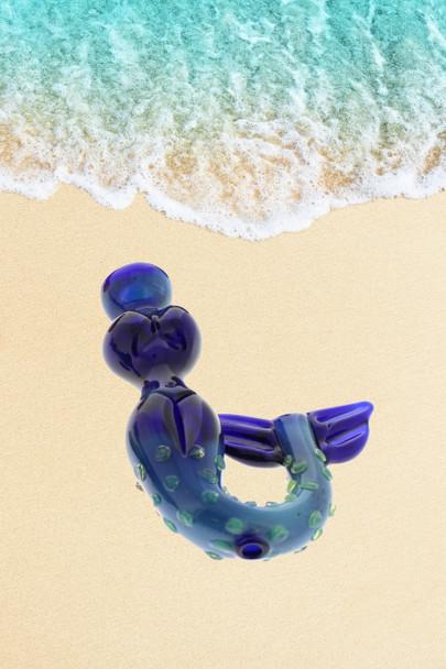 """4.5"""" Smoking Apollo Glass Mermaid Hand Pipe Blue"""