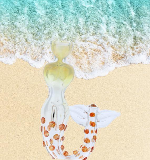 "4.5"" Smoking Apollo Glass Mermaid Hand Pipe Gold"