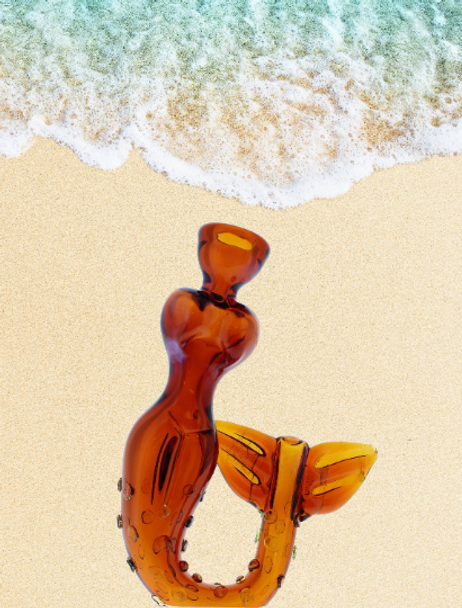 """4.5"""" Smoking Apollo Glass Mermaid Hand Pipe Amber"""