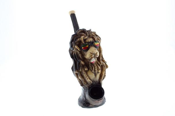 """5"""" Wood Finish Ceramic Hand Made Handheld Pipe Rasta Lion"""