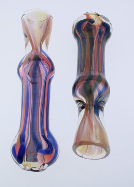 Dichro Chillum Glass Pipe - Horizontal Stripes