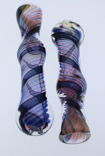 Dichro Chillum Glass Pipe - Dark Colored Swirl