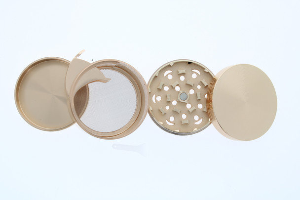 58mm Double Cross Grinder with Side Dispensing Compartment Gold