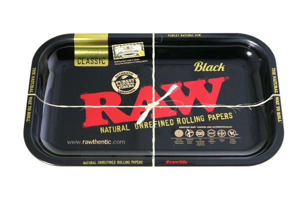 RAW ROLLING TRAY METAL BLACK - 11 x 7