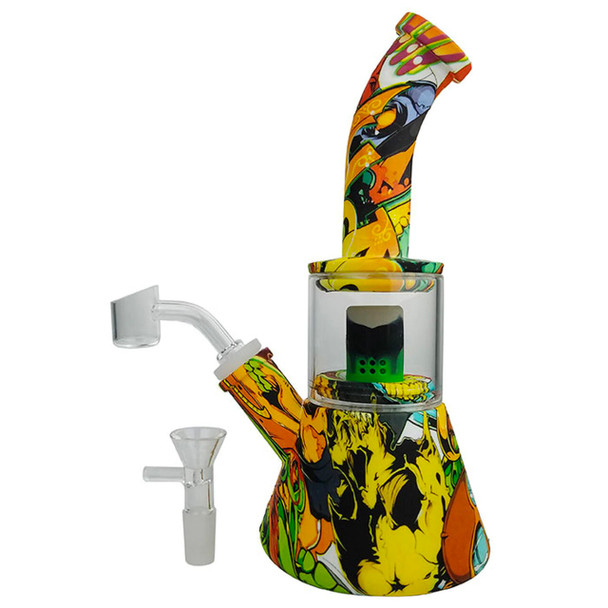 """9"""" Silicone Water Transfer Print Glass Chamber Beaker Water Pipe in Assorted Designs - with 14M Bowl & 4mm Banger"""