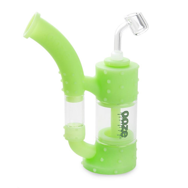 Ooze Stack Silicone Glass Rig and Water Pipe - Glow in the Dark Green