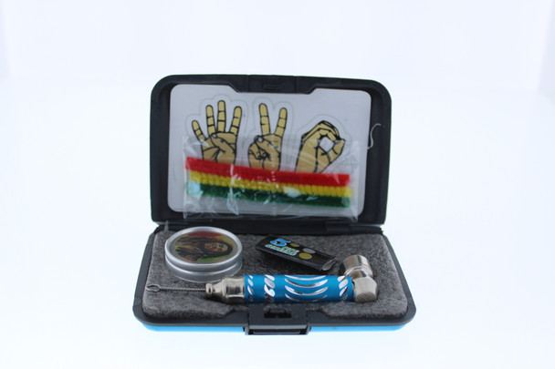 6 in 1 Tobacco Pipe Mini Kit with Hard Cover Carrying Travel Case - Blue