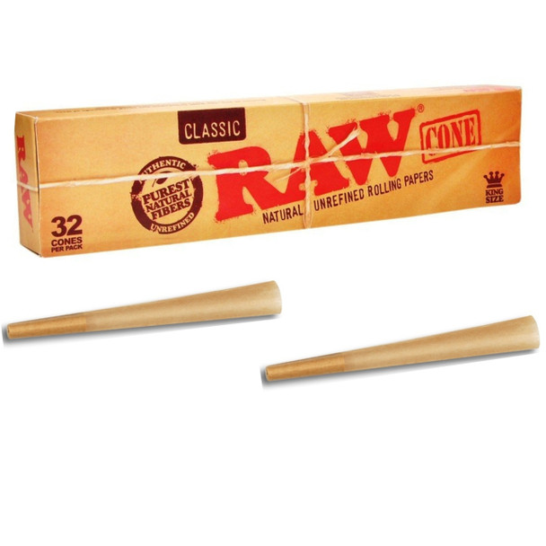 RAW Classic Unrefined Pre-Rolled Cones 32 Pack (King Size)