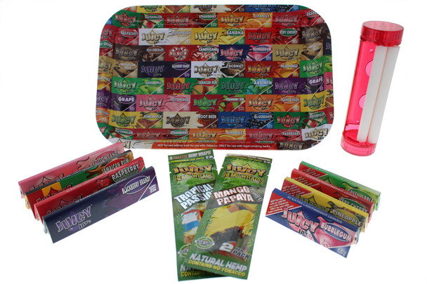 Juicy 7 x 11 Rolling Tray with 4 in 1 Roller & Assorted Rolling Papers - Large Kit