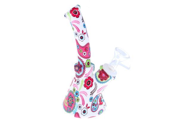 "7"" Silicone Floral Paisley Pattern Beaker Bottom Bong"