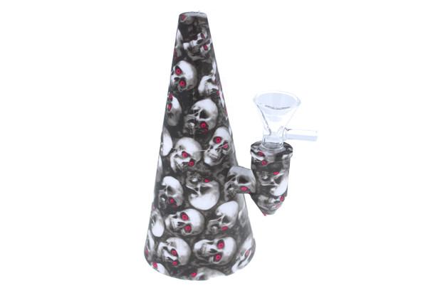 "6"" Skull Pattern Cone Shaped Silicone Bong - Showerhead Perc"