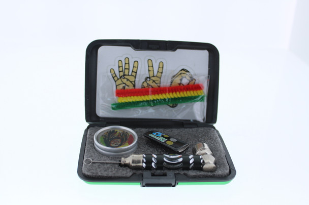 6 in 1 Tobacco Pipe Mini Kit with Hard Cover Carrying Travel Case - Green