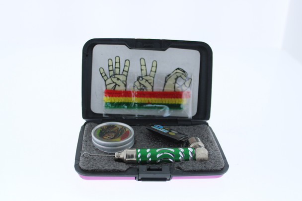 6 in 1 Tobacco Pipe Mini Kit with Hard Cover Carrying Travel Case - Pink
