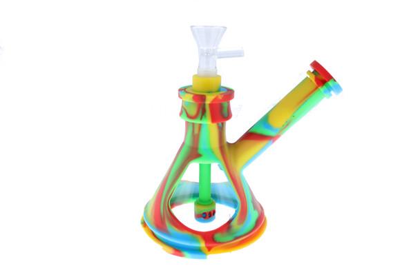 """6"""" Silicone Glass Hybrid Beaker Bottom Water Pipe Rainbow"""