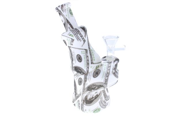 """7"""" Money Pattern Peak Design Silicone Bong"""