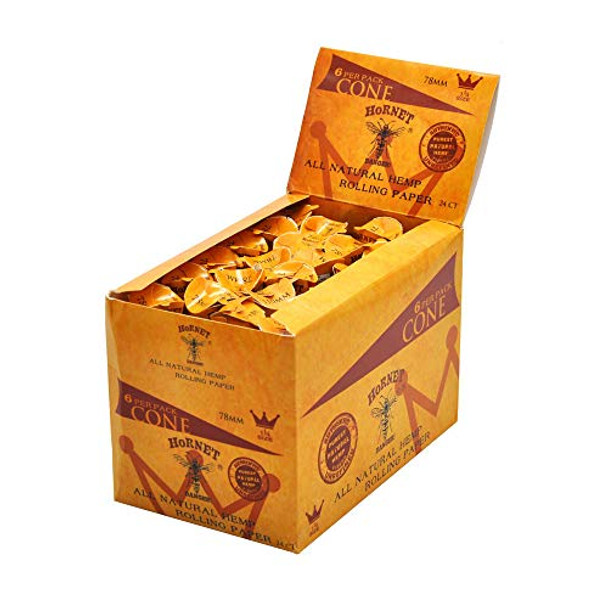 Hornet Pre-Rolled Cones Natural Hemp 1 1/4 Size Organic Cigarette Rolling Papers with Tips 6 Cones