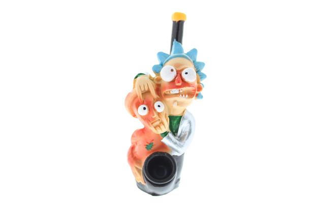 "5"" Wood Finish Ceramic Hand Made Handheld Pipe RM Crazy Eyes"