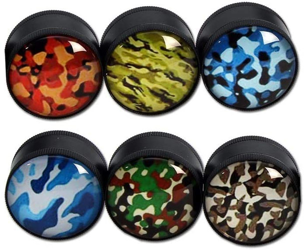 30mm 3 Level Metal Herb Grinder Camouflage with Glass Dome