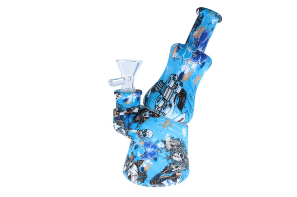 """7"""" Baby Blue Pattern Peak Design Silicone Bong"""