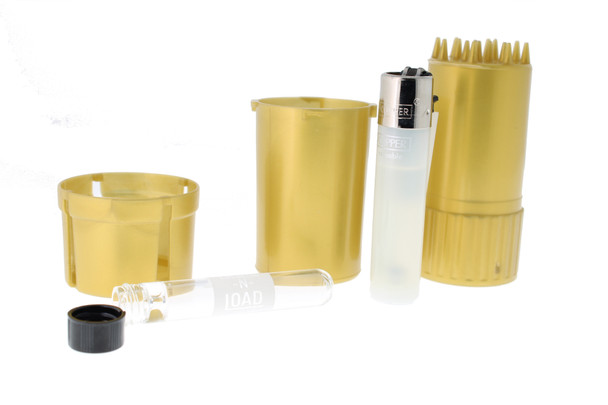 3 Piece Medtainer Odor Proof Jar Grinder with Chillum and Lighter - Lock-n-Load