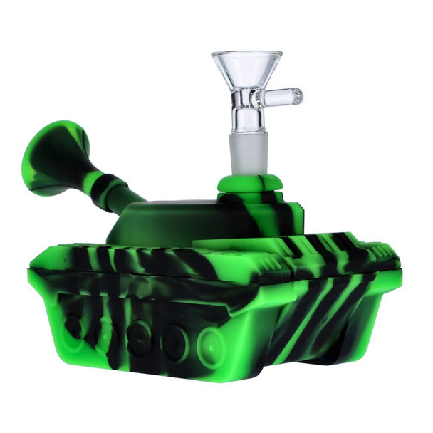 """4"""" Silicone """"Tank"""" Dab Rig / Bong Water Pipe - Black & Green"""