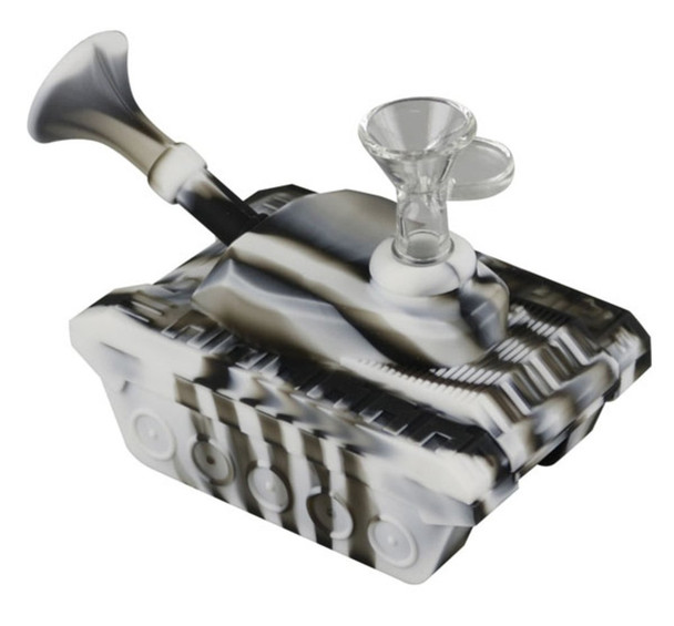 "4"" Silicone ""Tank"" Dab Rig / Bong Water Pipe - Black & Gray"