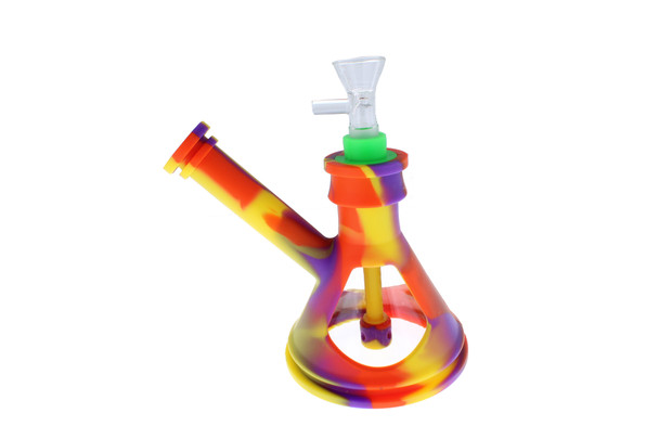 "6"" Silicone Glass Hybrid Beaker Bottom Water Pipe Purple Rainbow"