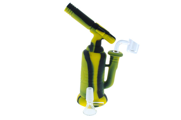 """7.5"""" Torch Silicone Bong / Silicone Rig - Black & Yellow"""